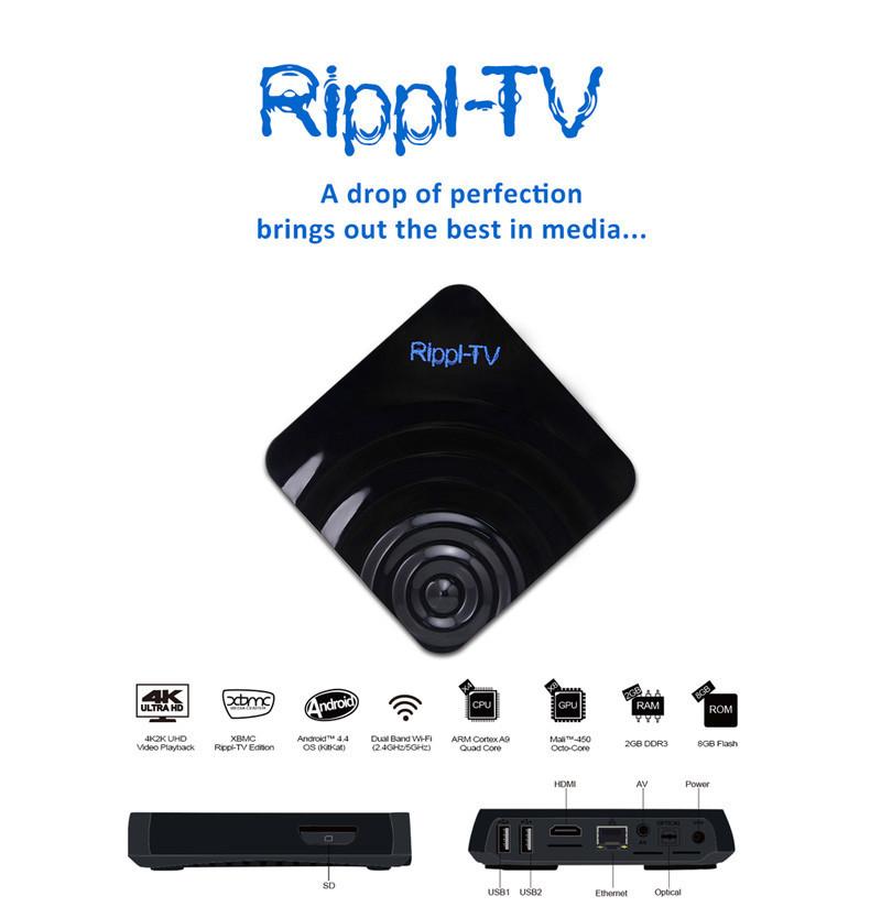 Rippl-TV Amlogic S802 Android 4.4 2G RAM 8G ROM 2.4G/5G WIFI Quad Core TV Box
