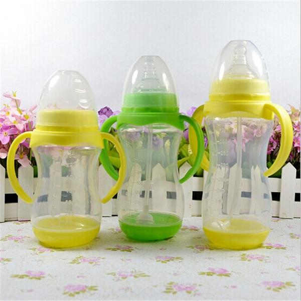 Baby 250ml Feeding Milk Bottle Silicone Nipple Handle Straw