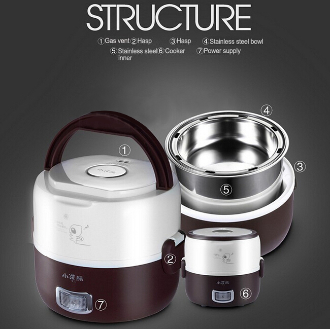 HM-2016 Electric Heating Lunch Box 1.2L Mini Rice Cooker for 1-2 person Schools offices hospitals Tr