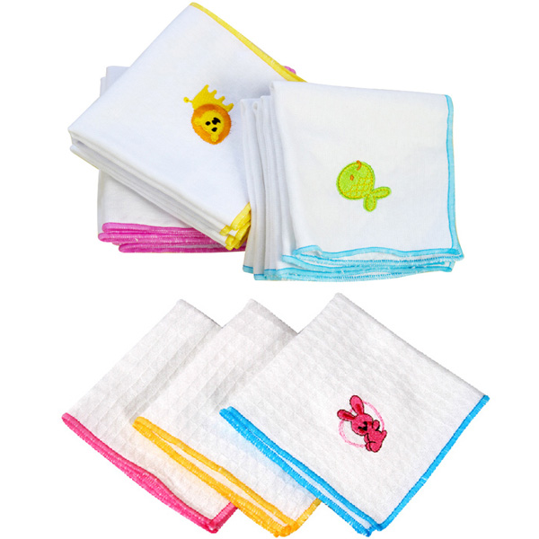 5pcs Embroidered Handkerchief Cotton Gauze Baby Napkin Face Towel
