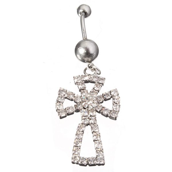 Full Rhinestone Hollow Cross Navel Belly Button Ring Piercing Jewelry