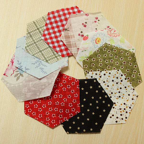 10pcs Mixed Color Hexagon DIY Sewing Cotton Patchwork