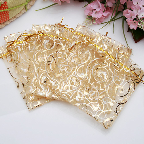 100Pcs Champagne Color Organza Pouch Wedding Favor Gift Bags 9X11CM