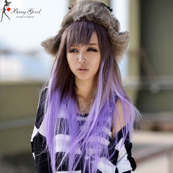 Light Purple Gradient Fashion Long Straight Wig