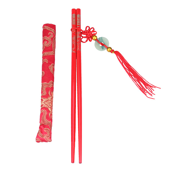Traditional Oriental Wooden Red Festive Chopsticks with Pouch