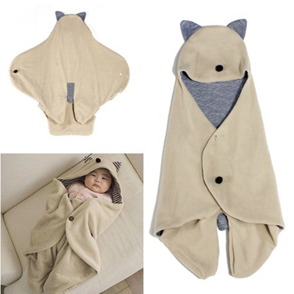 Infant Baby Swaddle Warm Blanket Hooded Sleeping Bag Wrap