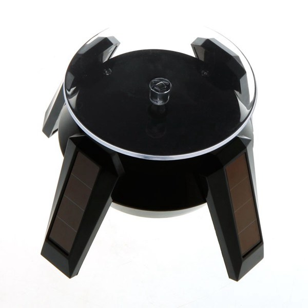 Solar Powered Jewelry Rotating Display Stand Turn Table Black