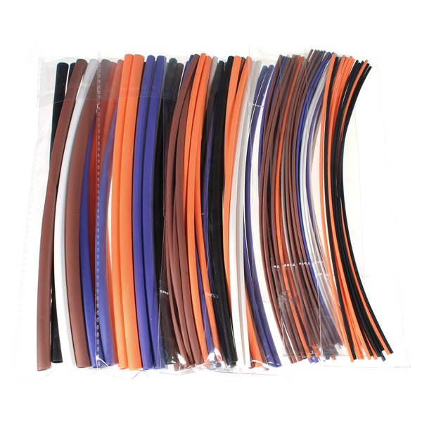 100pcs Assortment 2:1 Heat Shrink Tubing Tube Sleeving Wrap Kit 6 Size