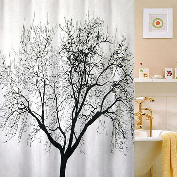 Polyester Fabric Black Tree Branch Bath Shower Curtains