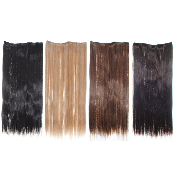 Stylish Long Straight Onepiece Clip On Hair Extensions