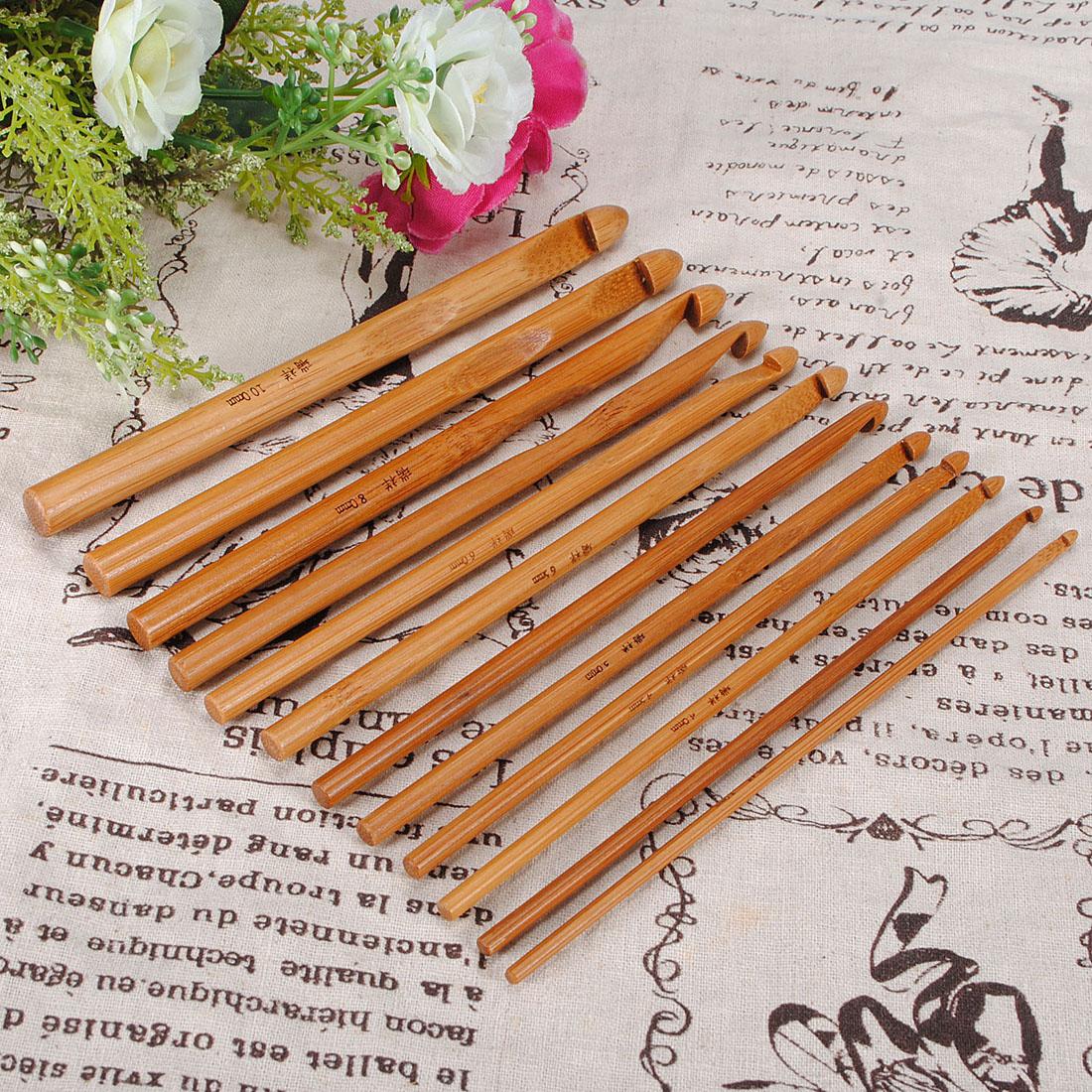 12 Bamboo Handle Crochet Hooks Needle Set