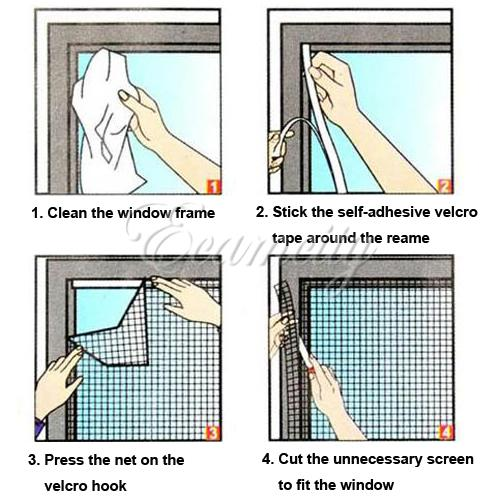 White DIY Insect Fly Bug Mosquito Door Window Net Mesh Screen Curtain Protector