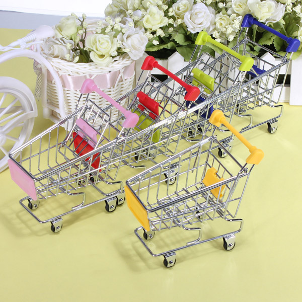 Mini Shopping Cart Desk Organizer Supermarket Phone Pen Toy Holder
