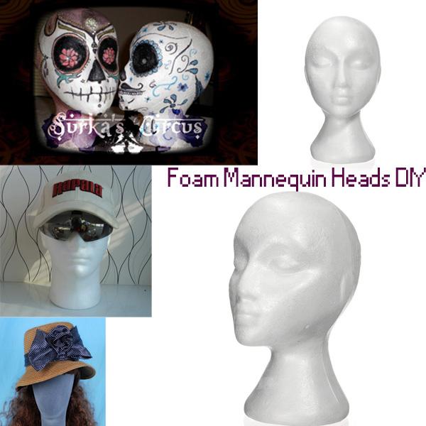 Styrofoam Bald Mannequin Head Stand Foam Manikin Head