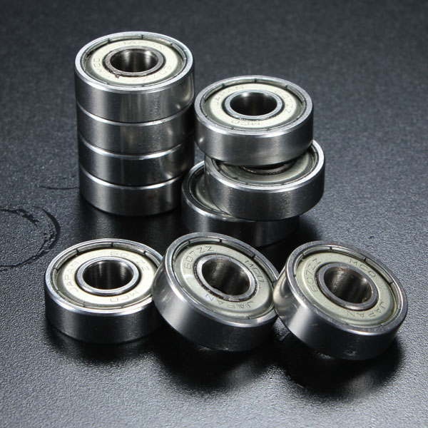 10Pcs 7x19x6mm Metal Sealed Shielded Deep Groove Ball Bearing 607ZZ