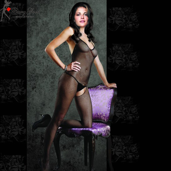 Charming Sexy Women Black Fishnet Open Crotch Tight Bodystocking