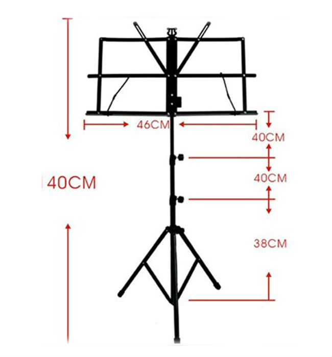 Music Stand Holder Shelf Folding Fold 3 Section with Carry Bag Black