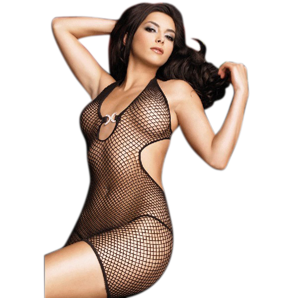 Black Fishnet Sheer Bodystocking