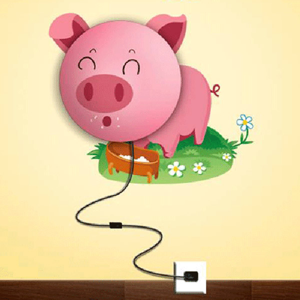 DIY Pink Pig Children Room Wall Lamp Light