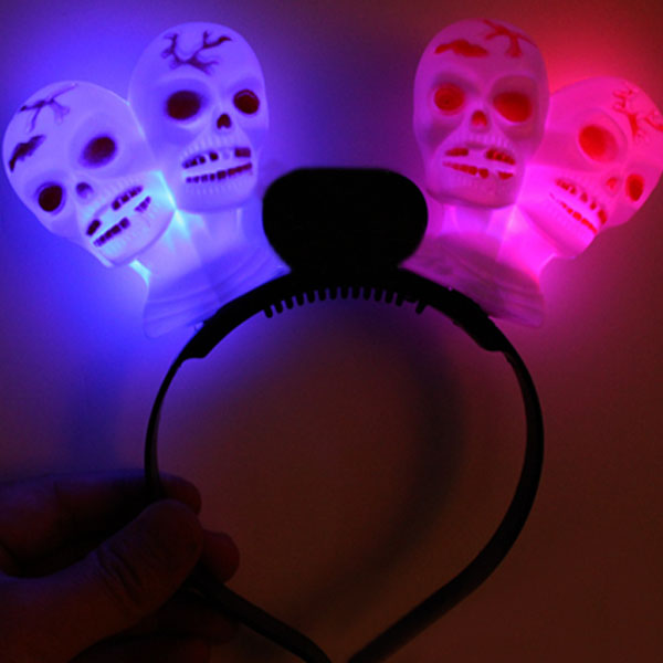 LED Double Skull Head Flashing Head Band Headhoop Party Supplies