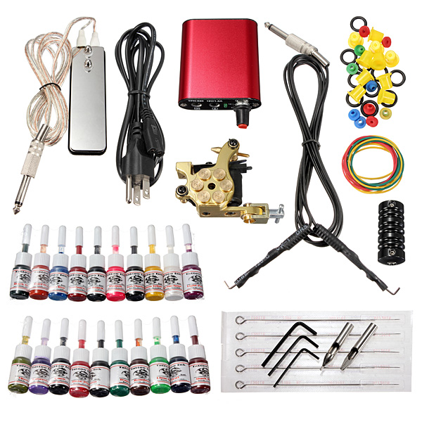 Professional Tattoo Machine 20 Colors Ink Power Supply Set Kit