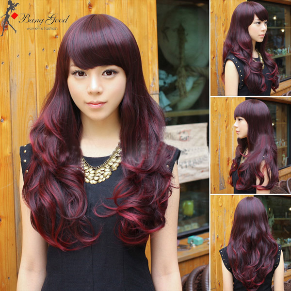 Fluffy Gradient Color Wine Red Long Curly Wig