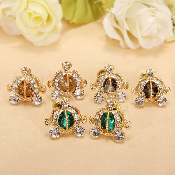 Exquisite Rhinestone Crystal Pumpkin Coach Ear Stud Earrings