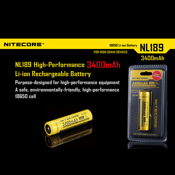 Nitecore NL189 18650 3400mAh Li-ion Rechargeable Battery