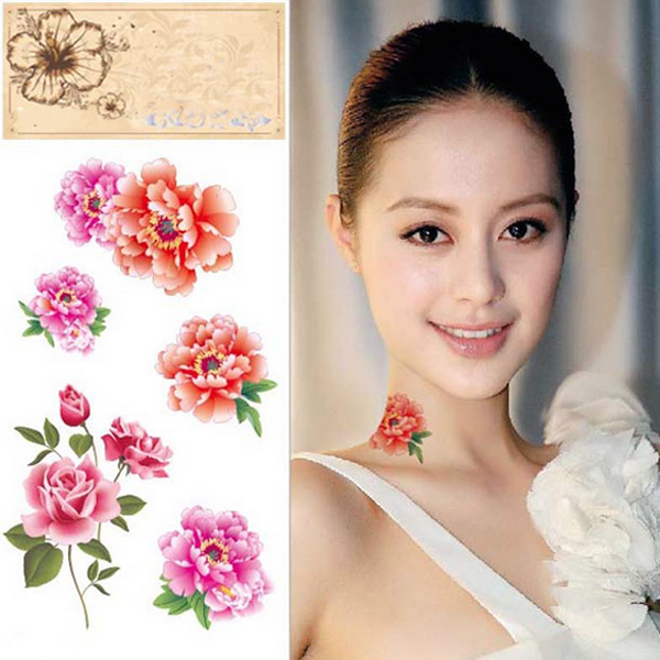 Temporary Roses Peonies Tattoo Transfer Body Art Sticker Waterproof