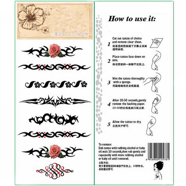 Temporary Rose Vine Tattoo Transfer Body Art Sticker Waterproof