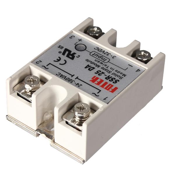 25A/250V SSR White Solid State Relay 3-32V DC 24-380V AC Control