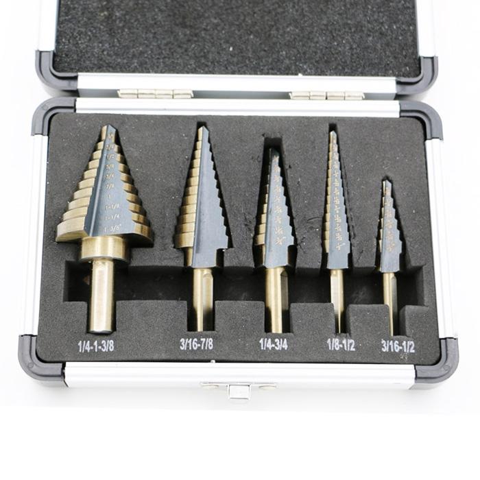 5Pcs//Set HSS Large Cobalt Hole Titanium Cone Step Drill Bit Cutter Tools Y