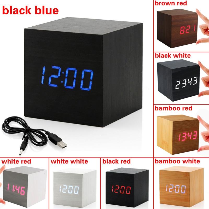 Image Is Loading Usb Sound Control Wood Cube Digital Led Desk