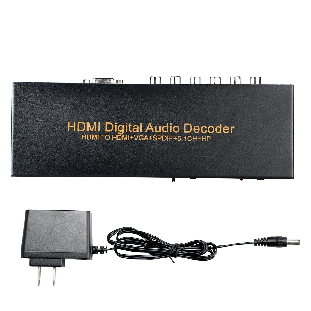 HDMI To HDMI+VGA+SPDIF +5.1CH+HP Digital Audio Decoder Converter Amplifier