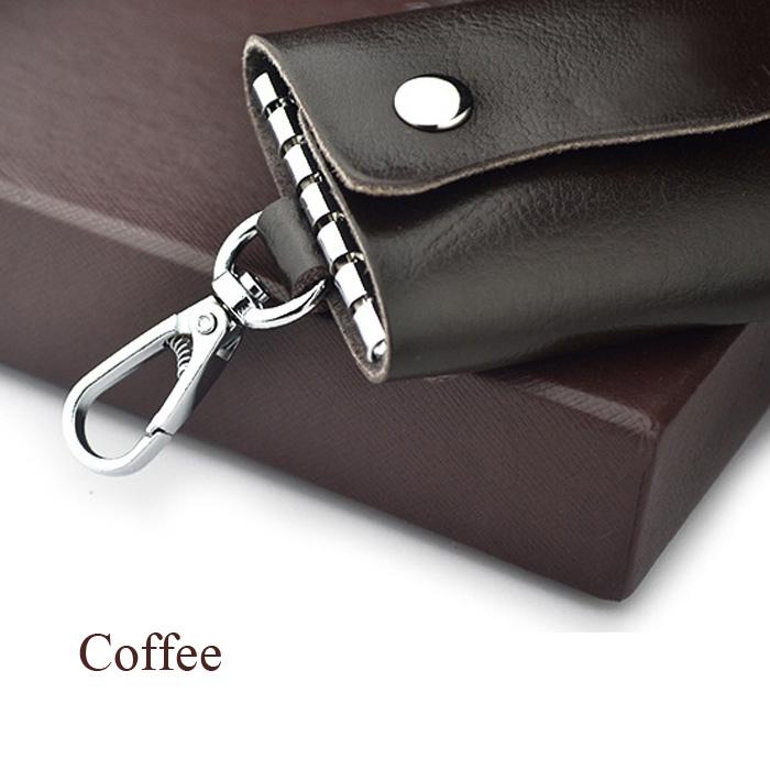 Genuine Leather Card Bag Wallet Car Key Holder Keychain Ring Case Set
