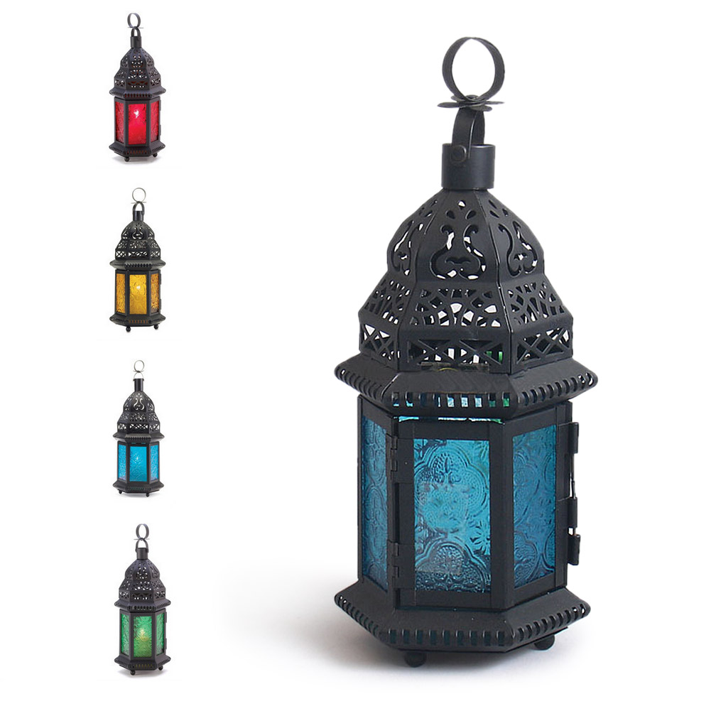 hanging candle lanterns glass metal moroccan delight garden candle holder table 28607