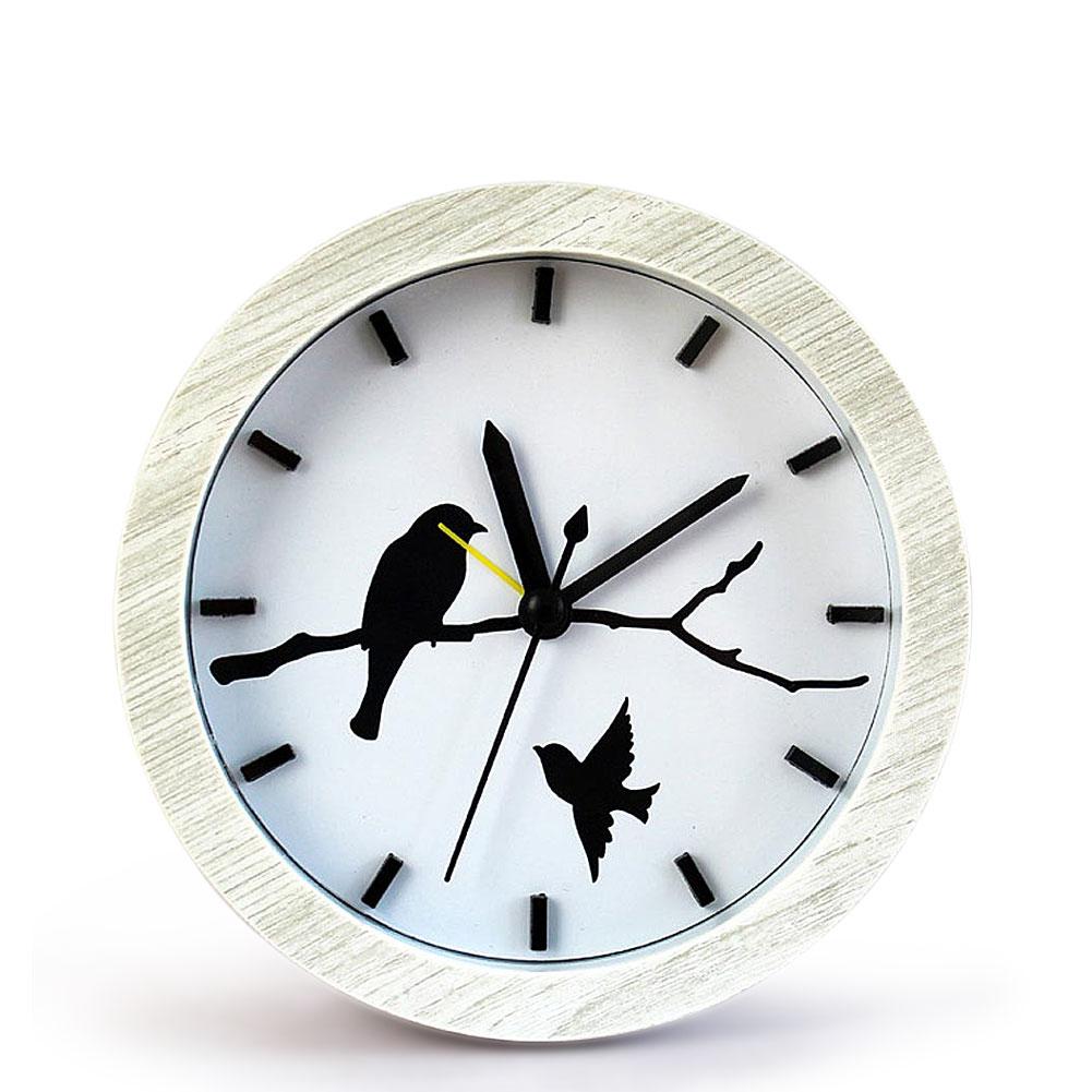 Super Creative Fashion Wooden Birds Retro Powered Desk Alarm Clock
