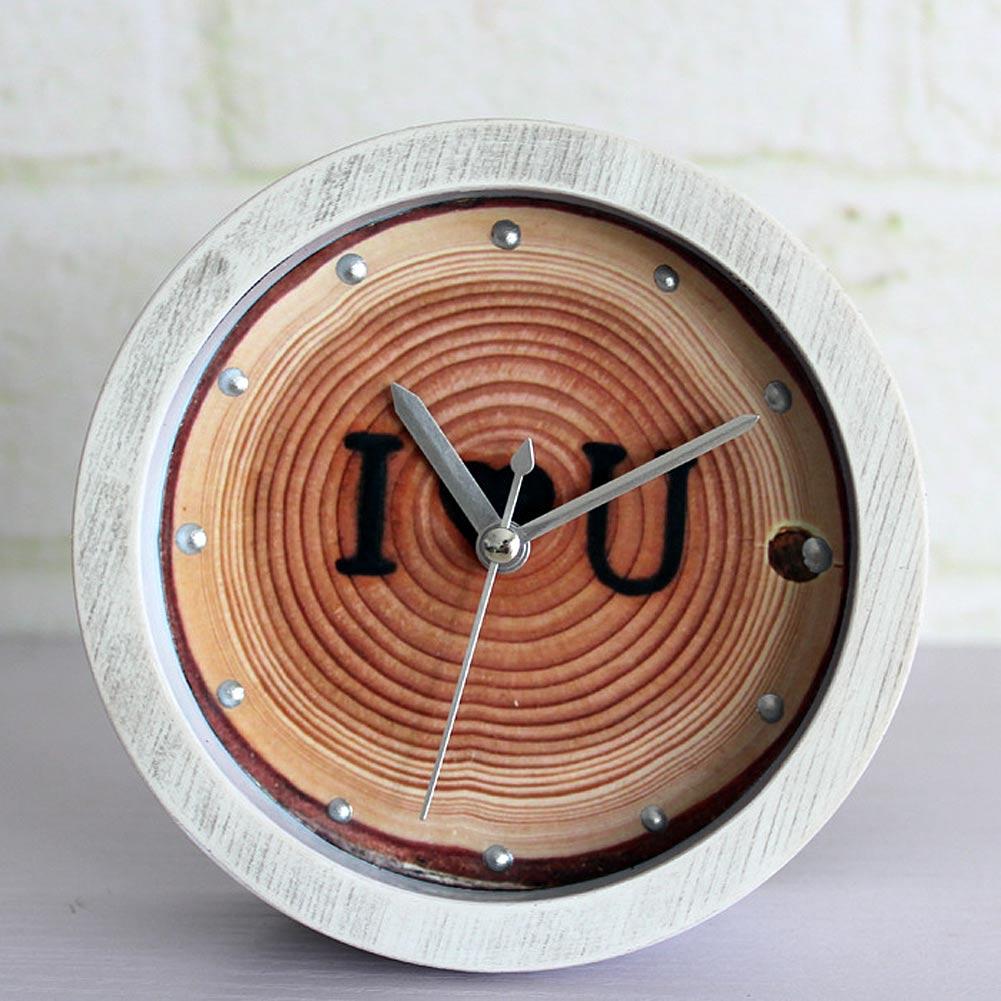 Creative Fashion Ring Love Natural Retro Pastoral Mark Wood Clock Mute