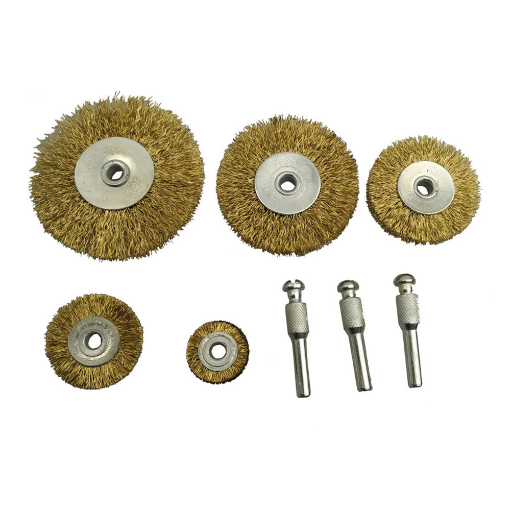 8pcs Stainless Steel Handle Deburring Copper Center Wire Wheel Brush