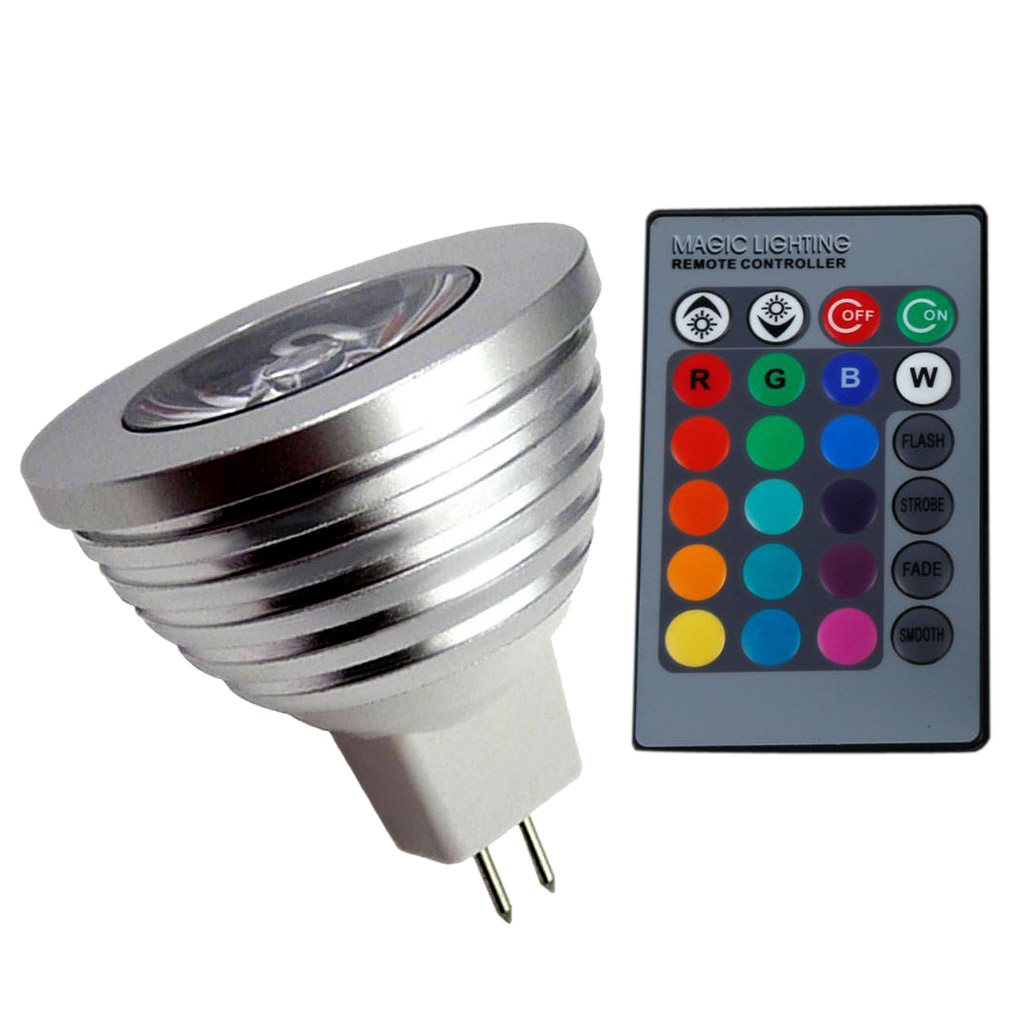 IR Remote Cont nw 16 Color Changing MR16 3W RGB LED Light Bulb Lamp AC//DC 12V