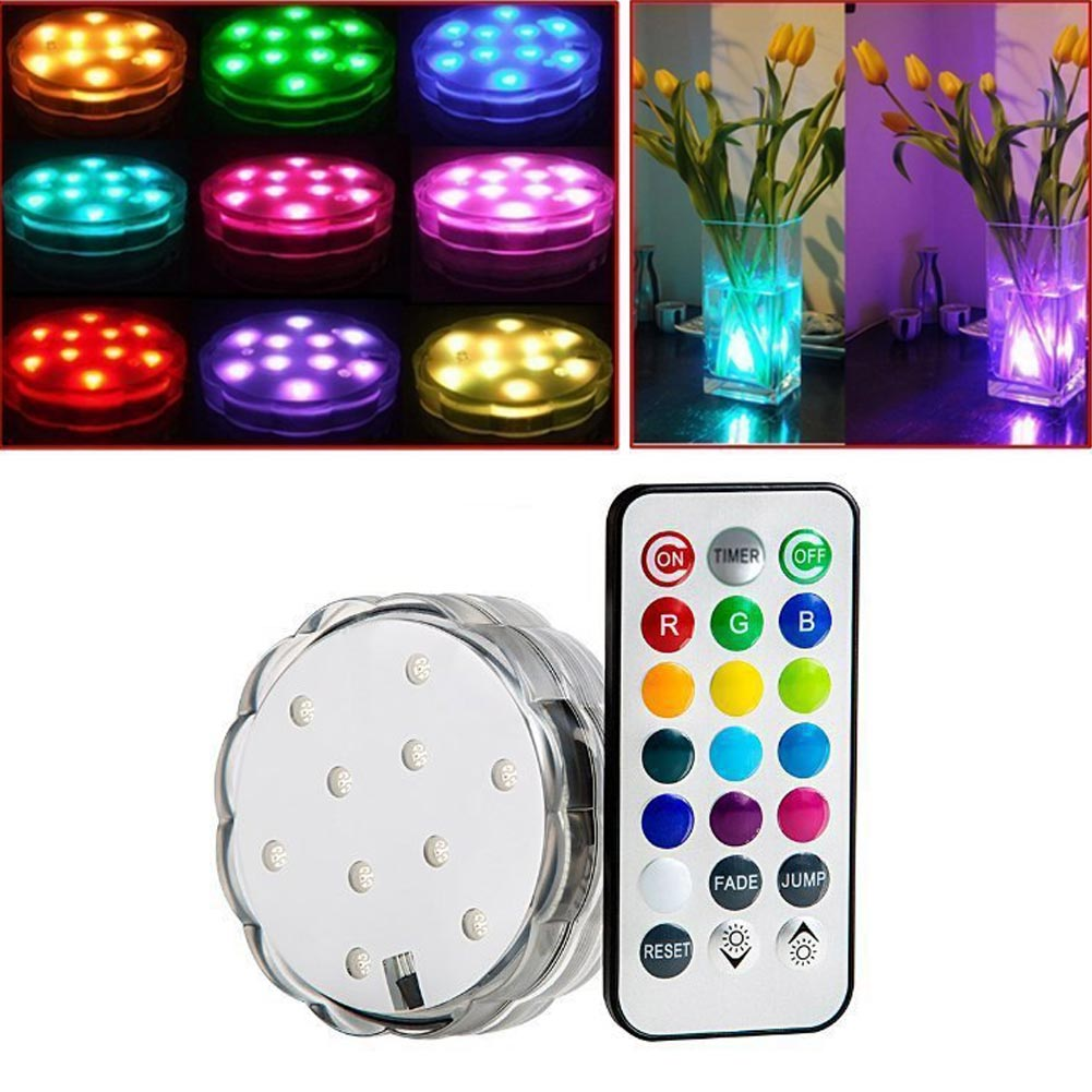 10-LED Multi Color Waterproof RGB Submersible LED Light With Romote Control