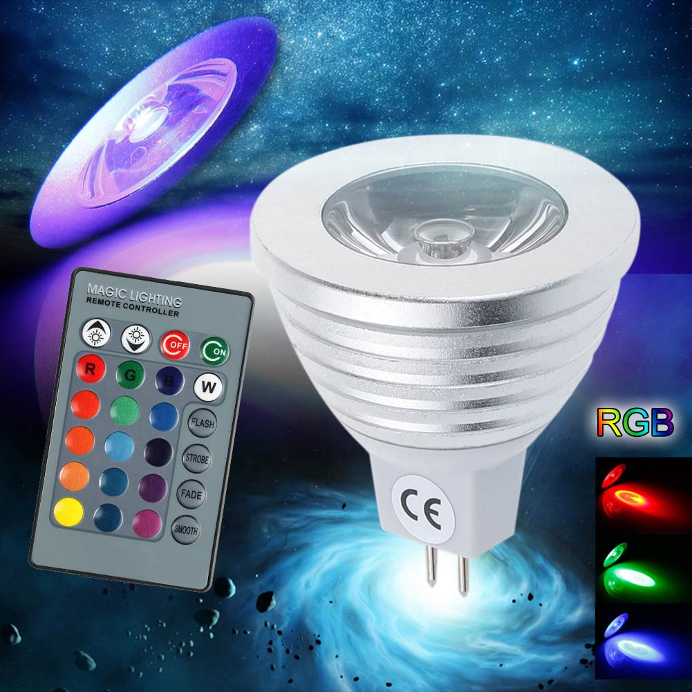 MR16 3W 12V RGB LED Magic light Bulb lamp Colors Change With Remote Control