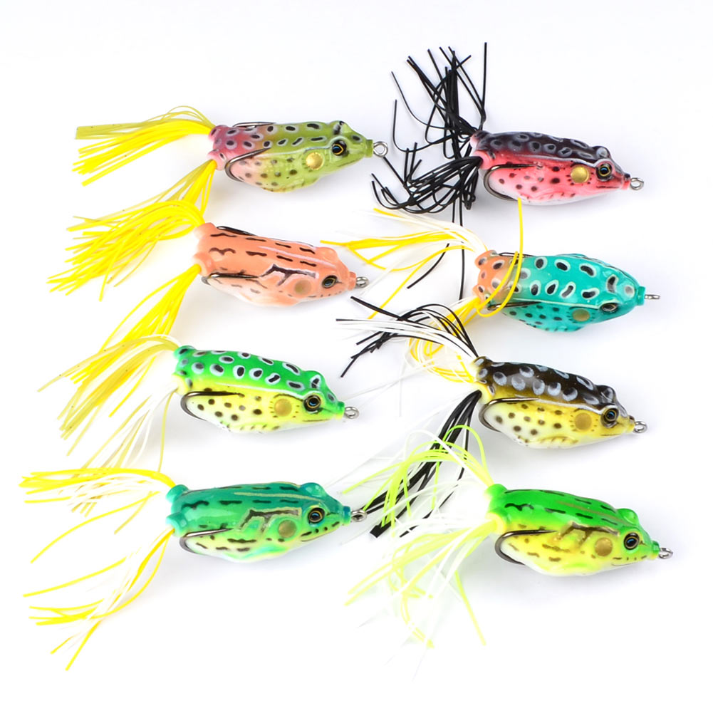 New 8PCS Classic Frog Fishing Lure Crank Bait Tackle Bass Hook 6cm 13.42g