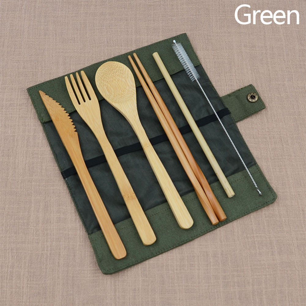 Portable Bamboo Cutlery Travel Eco-friendly Fork Spoon Straw Set W/Pouch