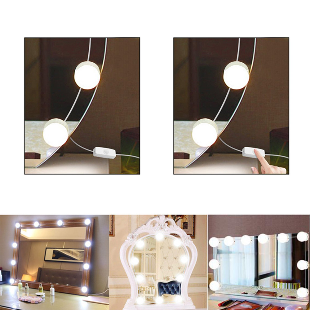 USB LED VanityMirror Lights Kit Stepless Dimmable Lamp MakeupLighting Strip
