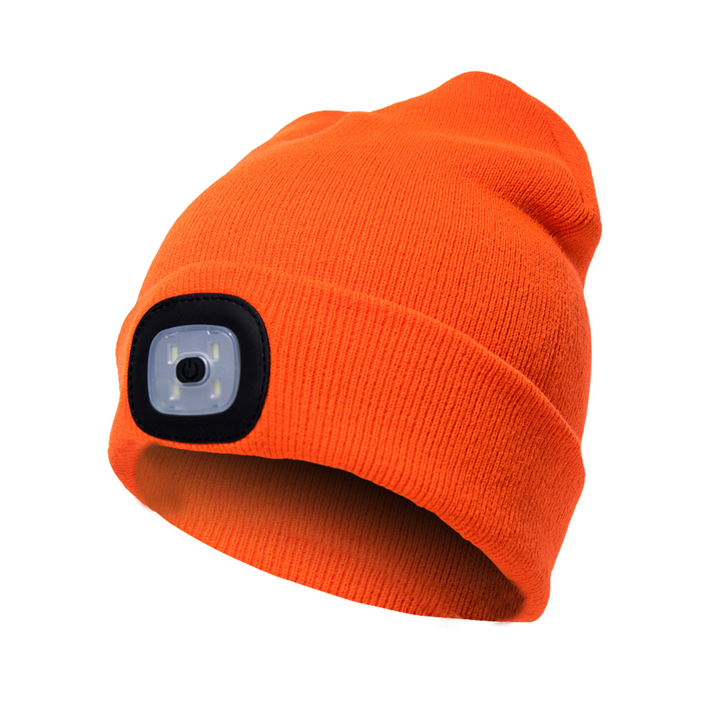 94f653bc2 Details about USB Rechargeable 4LED Light Beanie Hat Fishing Ski Riding  Lamp Knit Cap Unisex