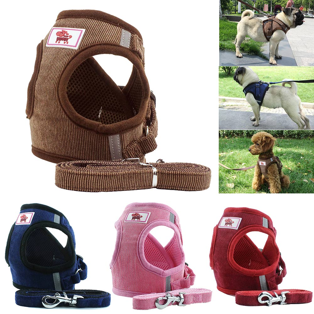 Dog-Harness-Vest-Adjustable-Pet-Puppy-Walking-Training-Lead-Leash-AU