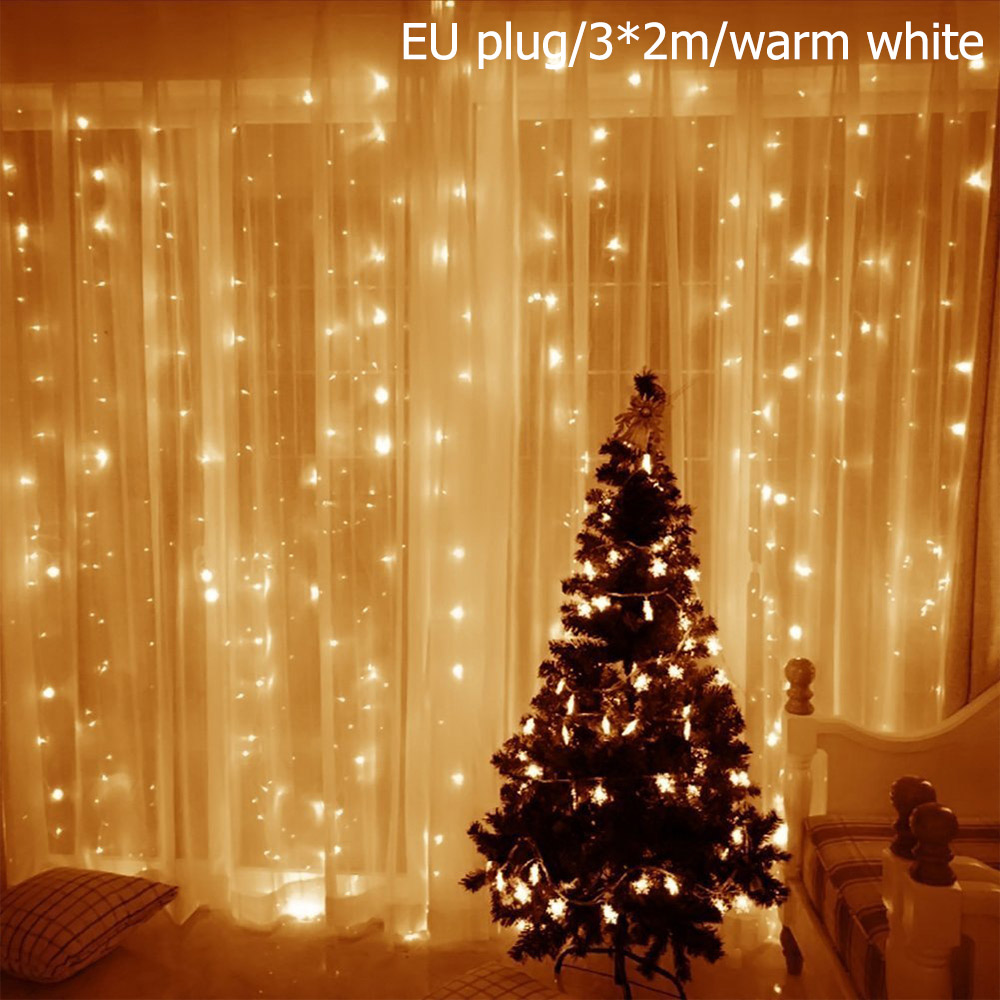 Details about LED Curtain Fairy Lights Indoor Outdoor Wedding Party Christmas Garden Decor