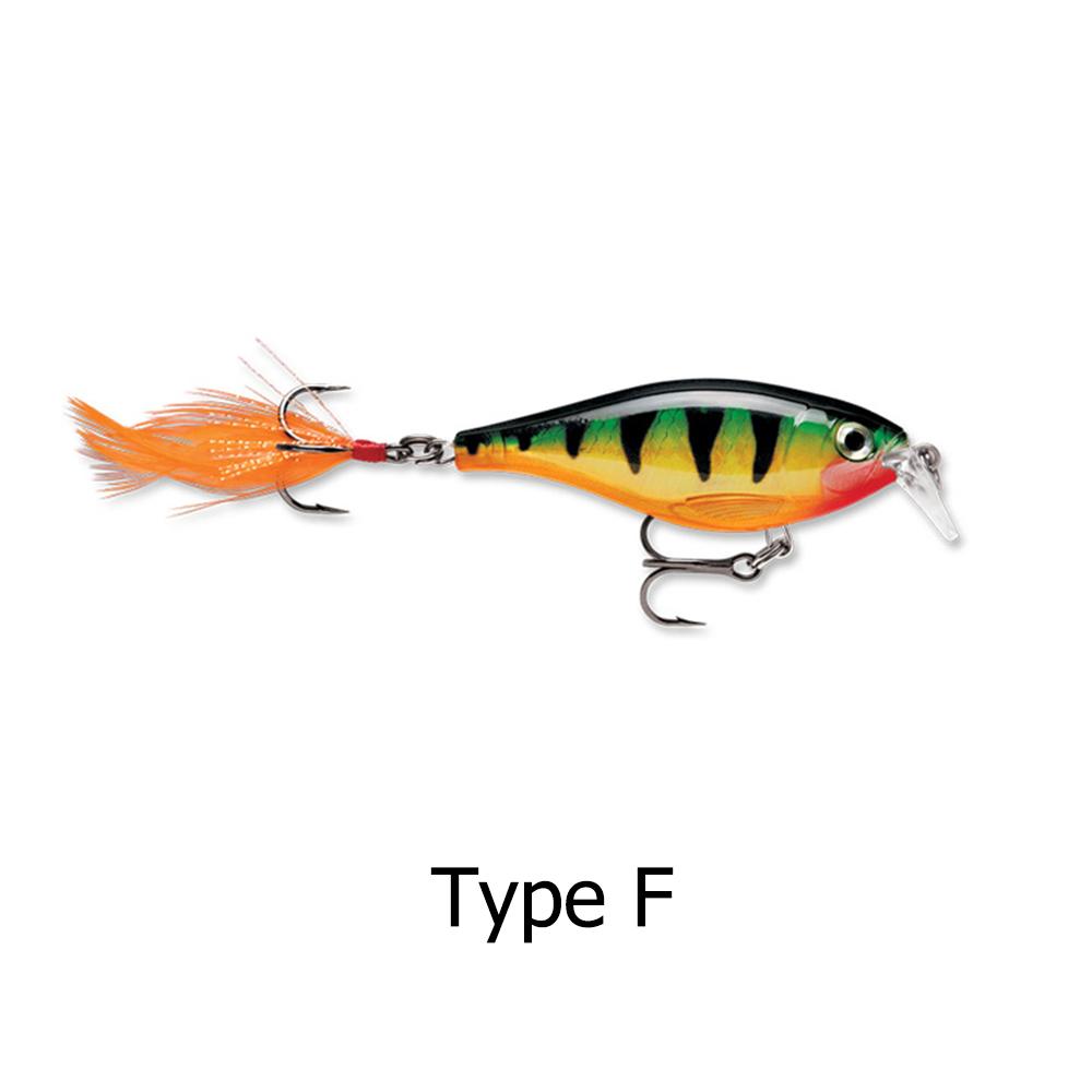Minnow-Fischkoeder-mit-Hoehenfedern-Haken-lebensechte-3D-Fischaugen-Swimbait Indexbild 7