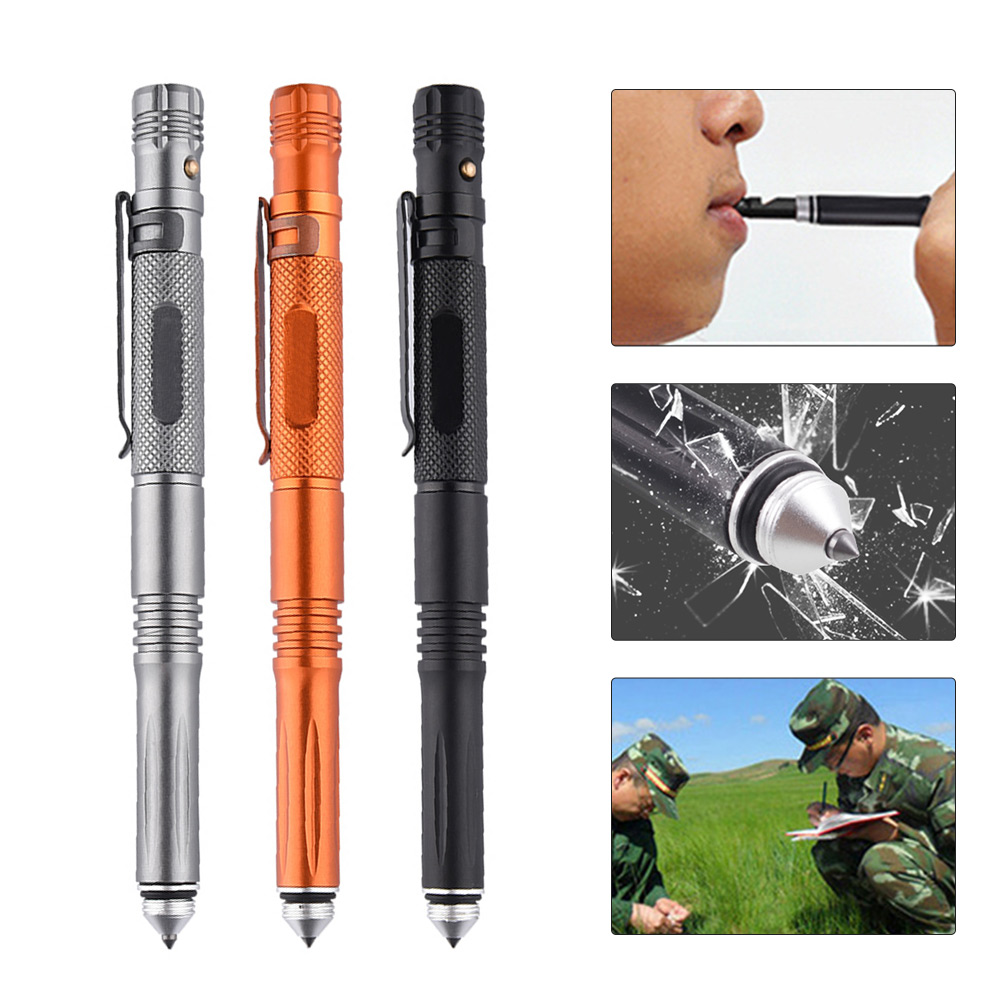 Tactical Pen LED Torch Self Defense Glass Breaker Tool With